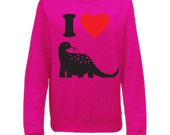 I Love Dinosaurs Womens I Heart Super Soft Printed Sweatshirt Jumper