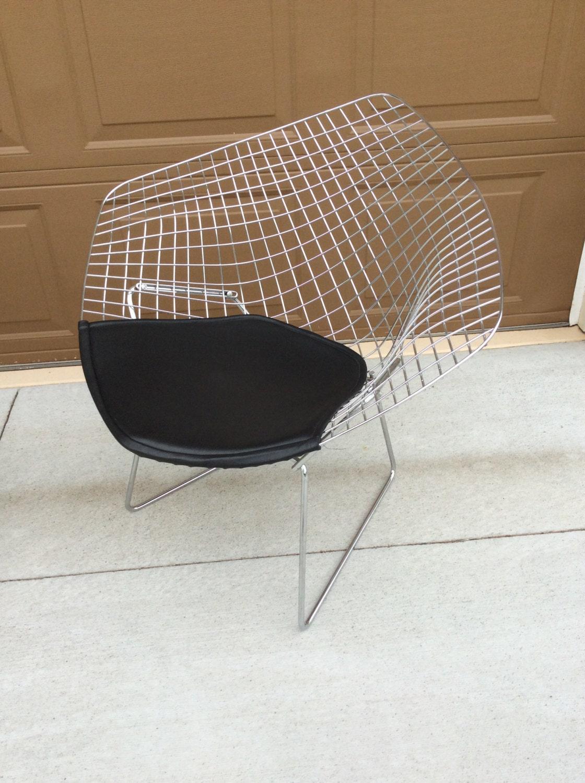 Harry Bertoia Diamond Chair | Vintage Mid Century Modern Butterfly Chair |  Bertoia Chrome Chair With Naugahyde Seat Cover