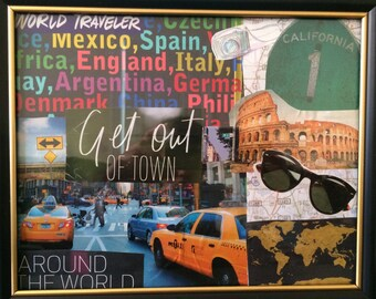 City Travel Inspirations Magazine Collage in Frame 8in x 10in