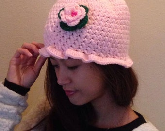 Handmade, Stylish, Crochet Hat Embellished with Handmade Flower