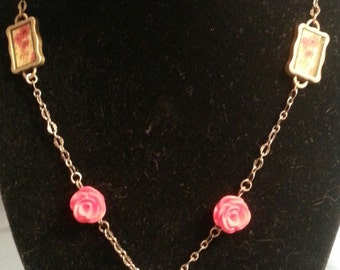 OOAK Dried Rose Necklace