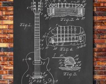 Gibson Les Paul Guitar Patent Print Art 1955