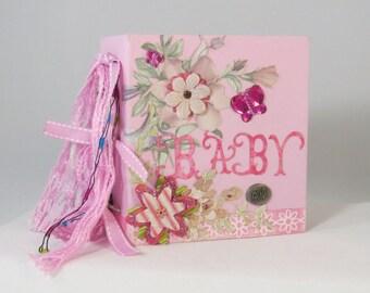 "Baby Girl Mini album, chunky scrapbook mini-album, memory album, keepsake album, homemade photo album, 4 1/2"" x 5"" mini scrapbook album"
