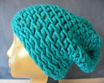 CLEARANCE Turquoise Beanie - Crochet