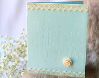 Set of Two Baby Blue Textured Blank Cards with Lace Lines and Mini Rose, Blank Cards Set with Envelopes, Any Occasion Card