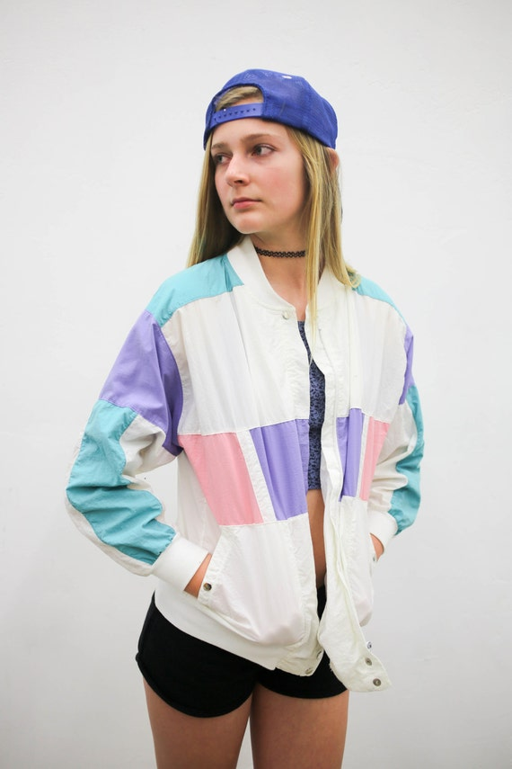 Vtg 90u0026#39;s 80u0026#39;s pastel windbreaker white teal by BobbyDangFashion