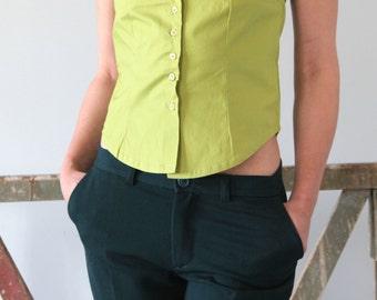 SALE --50% OFF Green spring-summer Shirt top.