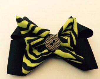Yellow Zebra Hair Bow