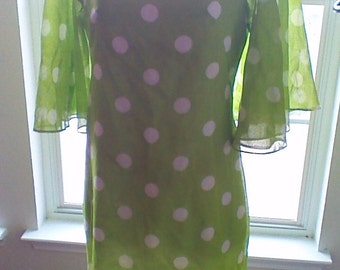 Vintage 70's Polka Dot Dress with Sheer Butterfly Sleeves, Green and White Dress