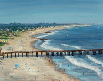 Beach print, Ventura Pier View from the Crown Plaza, from original oil painting by Tina O'Brien