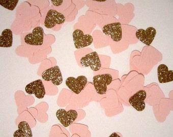 Heart Confetti | Blush Confetti | Pink Confetti | Pink and Rose Gold Hearts | Blush and Rose Gold Heart Confetti | Blush Table Decor