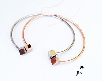 Double Cube Bangle Bracelet 18K Rose Gold Bangle Bracelet