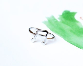 Silver Musical Note Ring 925 Silver Knuckle Ring Adjustable Open Ring Midi Ring Multifinger Ring Simple Stack Ring Ideal Gift Symbol Ring