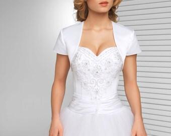 Simple short sleeved Satin Bridal Jacket   Simple Bolero in White, Ivory and Black
