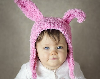 Soft Pink Bunny Ears Hat, Funny Hat, Photo Prop, Soft Yarn Knitted Hat