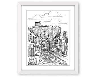 Rye, England, Pen and Ink Print, 5x7, 8x10, 11x14, 13x19, Pen and Ink Illustration, Architectural Print, Historic Buildings, British Village