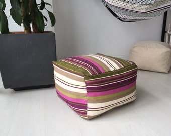 "Square - modern fabric pouf - puff ottoman - floor cushion design pouff (16""x16""x12""-40x40x30cm)"