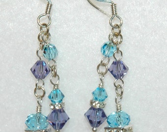 Handmade Swarovski Earrings in Aquamarine & Tanzanite