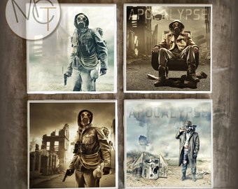 Apocalypse Drink Coasters, Set of 4 Hot and Cold Post Apocalyptic Bar Coasters, Survival Beer Coasters, Man Cave Coasters, Made To Order