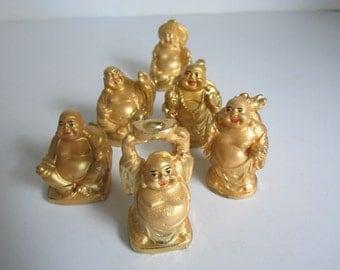 Buddha Figurines 6 Mini Statues Goldtone