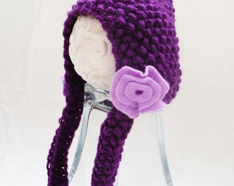 Purple Baby Knit Hat / Newborn Photo Props / Newborn Hat