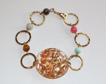 Bracelet resin & gold leaves