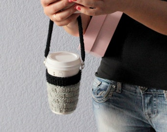 Knit coffee cozy with lanyard Coffee cup sleeve Coffee cup holder Coffee cup cozy Travel mug cozy Travel mug sleeve. Hands free cup sleeve.