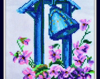 Cross stitched bell, cross stitch, embroidery, picture, cross-stitch picture
