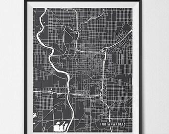Indianapolis Map Art Print, Indianapolis City Map of Indianapolis Art Poster of Indiana State Map, Indy University Butler University Poster