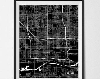 Phoenix Map Art Print, Phoenix City Map of Phoenix Art Poster of Arizona State Map Art AZ Art Phoenix Arizona Art Decor