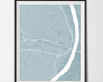 St. Louis Map Print, St. Louis Poster of Missouri Map of St Louis Print Gift MO Map St Louis Missouri Poster Wall Decor