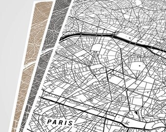 Paris Map Art Print, Paris City Map of Paris Art Poster of France Map Art, Paris Decor for Office Wall Art Paris Wall Decor, Black and White
