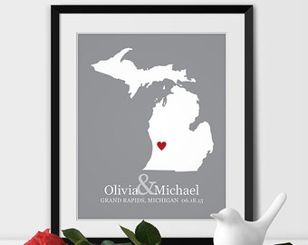 Michigan Map Art, Grand Rapids Michigan Wedding Gift for Couples Wedding Gift for Anniversary Gift for Him Michigan Gift -Any STATE