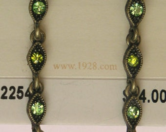1928 Jewelry Olivine Crystal Linear Earrings