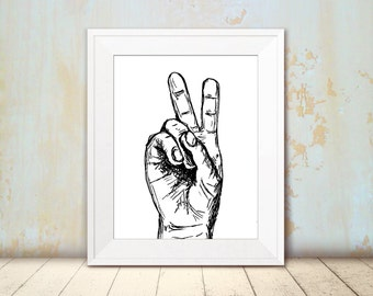 V sign hand poster - Black and white v sign print, Printable wall art,  A4 Art print, Art & collectibles, Teen room decor