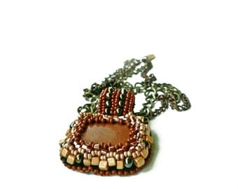 Beaded cabochon pendant in handmade/Embroidery /Beadwork / Brown /Beaded Sunstone/one of a kind Embroidered shell pendant/ Coupon codes sale