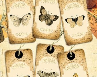 Butterfly vintage Tags - 12 botanical retro tags digital printable collage sheet instant download - Retro Box Collection