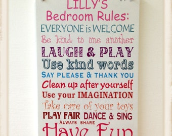 Personalised Children Bedroom Rules  Wooden Plaque Boy Girl Sign W150