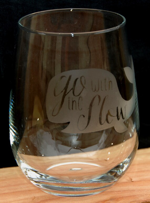 whale go with the flow 17 oz stemless wine glass. Black Bedroom Furniture Sets. Home Design Ideas