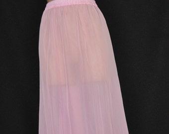 Sissy Lingerie - Baby pinkchiffon sheer petticoat, very feminine, delightful cd wear too