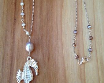 Sterling silver seahorse and Pearl long necklace