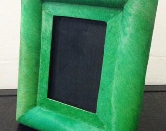 Cowhide photo frame, leather frame, genuine cowhide, hair on hide, decorative photo frame