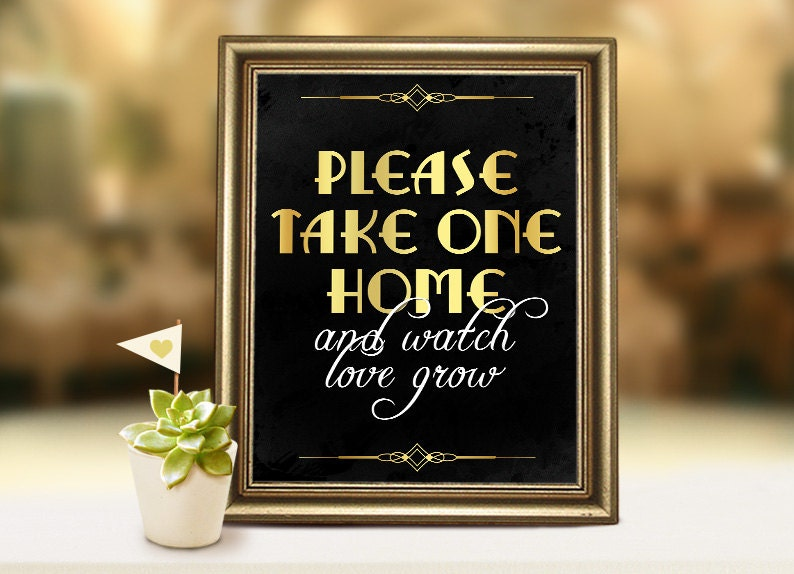 Wedding Take Home Gifts: Wedding Printables: Please Take One Home Sign. Wedding Favors