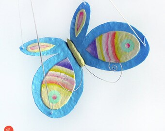 Papier mache butterfly,hanging butterfly,big butterfly,light blue color,butterfly wings,colored stripes,girls room decor,boys room decor