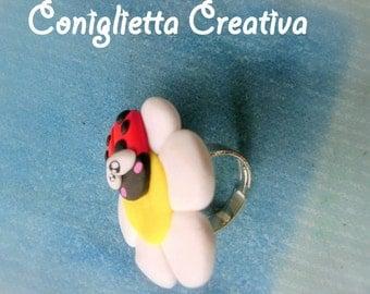 Birthstone ring with Daisy Ladybug