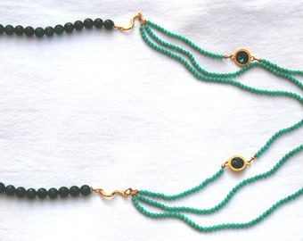 Green jade, necklace, gemstones, Swarowski, made in Italy
