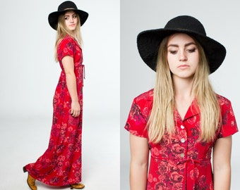 Vintage 90s • Red Floral Maxi Dress • XS/S/M • Red Floral Dress • 90s Grunge • Dress 90s • Floral Dress • Hippie Bohemian Dress
