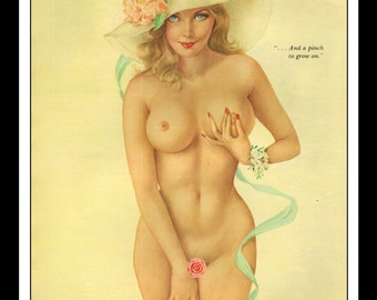 """Vargas PlayboyPinup Girl  Vintage May 1975 """"Pinch!"""" Sexy Blonde Yellow Hat Flower Nude Mature Wall Art Deco Print"""