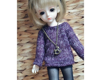 Bjd Casual Purple Sweater for 1/6 yosd, 1/4 msd,1/3 SD16 Doll Clothes Customized