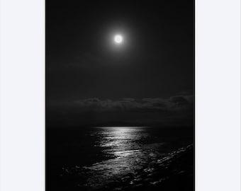 art print, wall decor, black and white, photography, home decor, fine art, full moon, seascape, dramatic, lunar, night art, ocean, moon glow